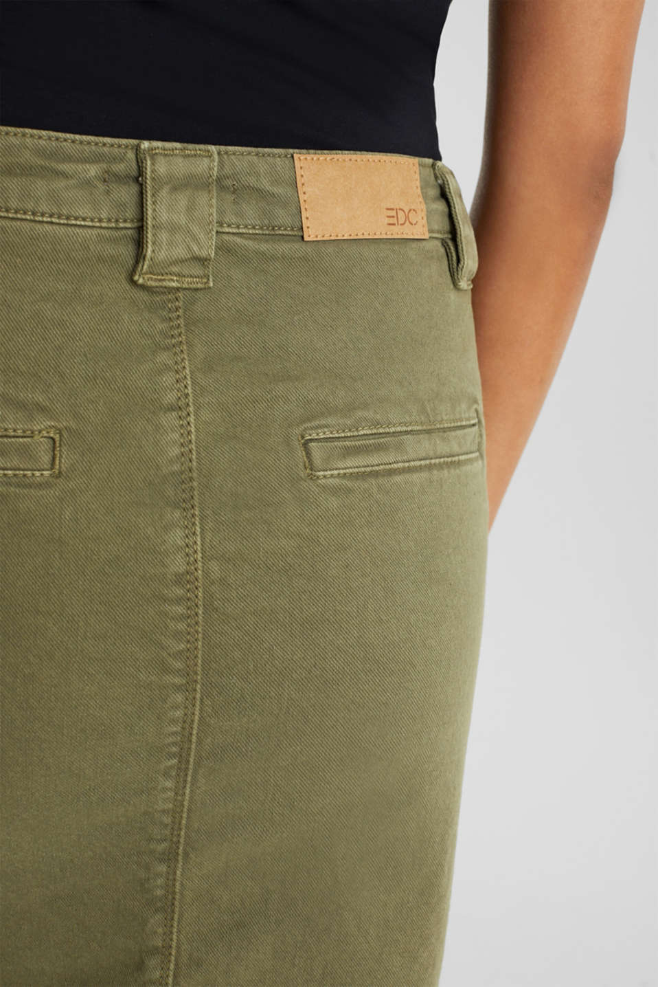 Denim skirt with pockets, KHAKI GREEN, detail image number 4