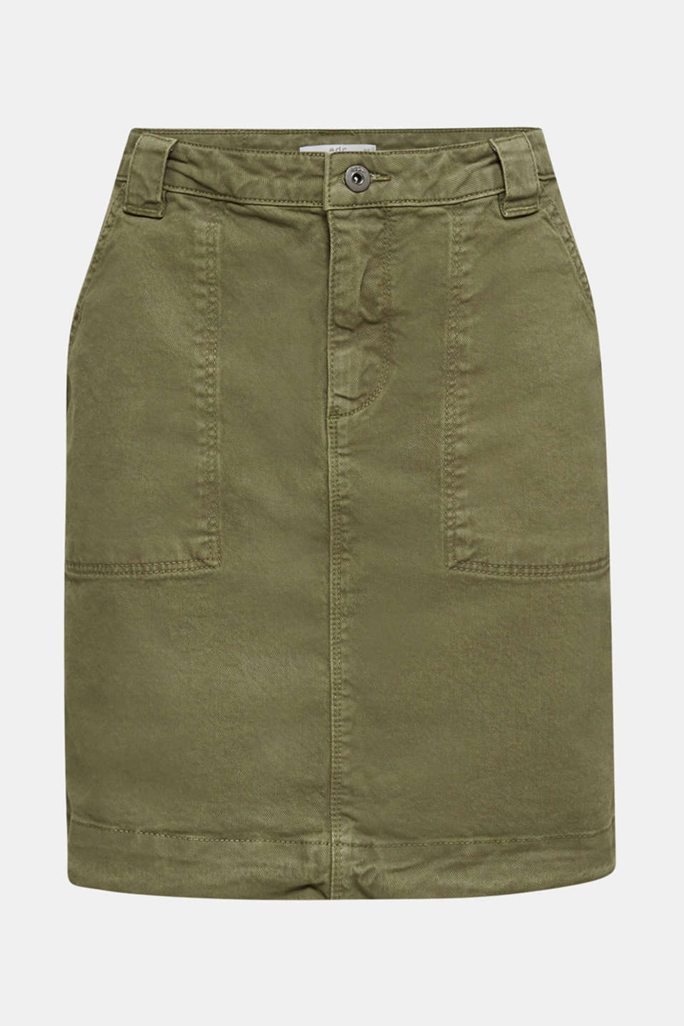 Denim skirt with pockets, KHAKI GREEN, detail image number 5
