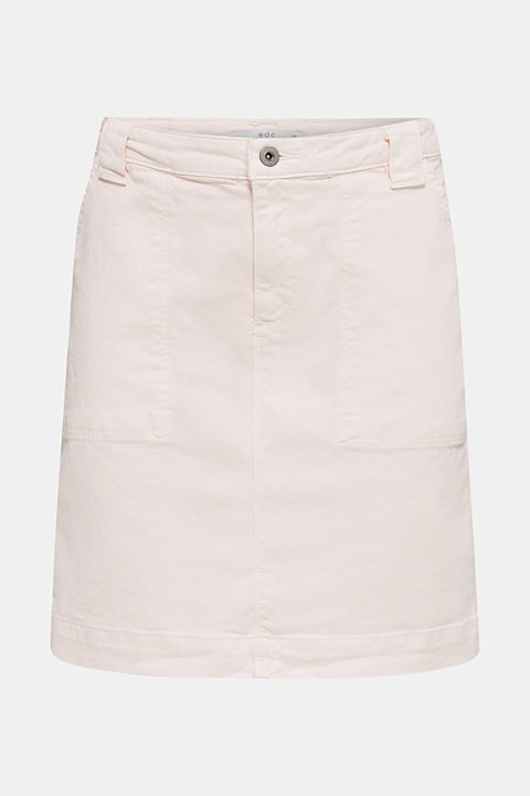 Coloured denim skirt with front pockets