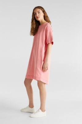100% cotton sweatshirt dress, CORAL, detail
