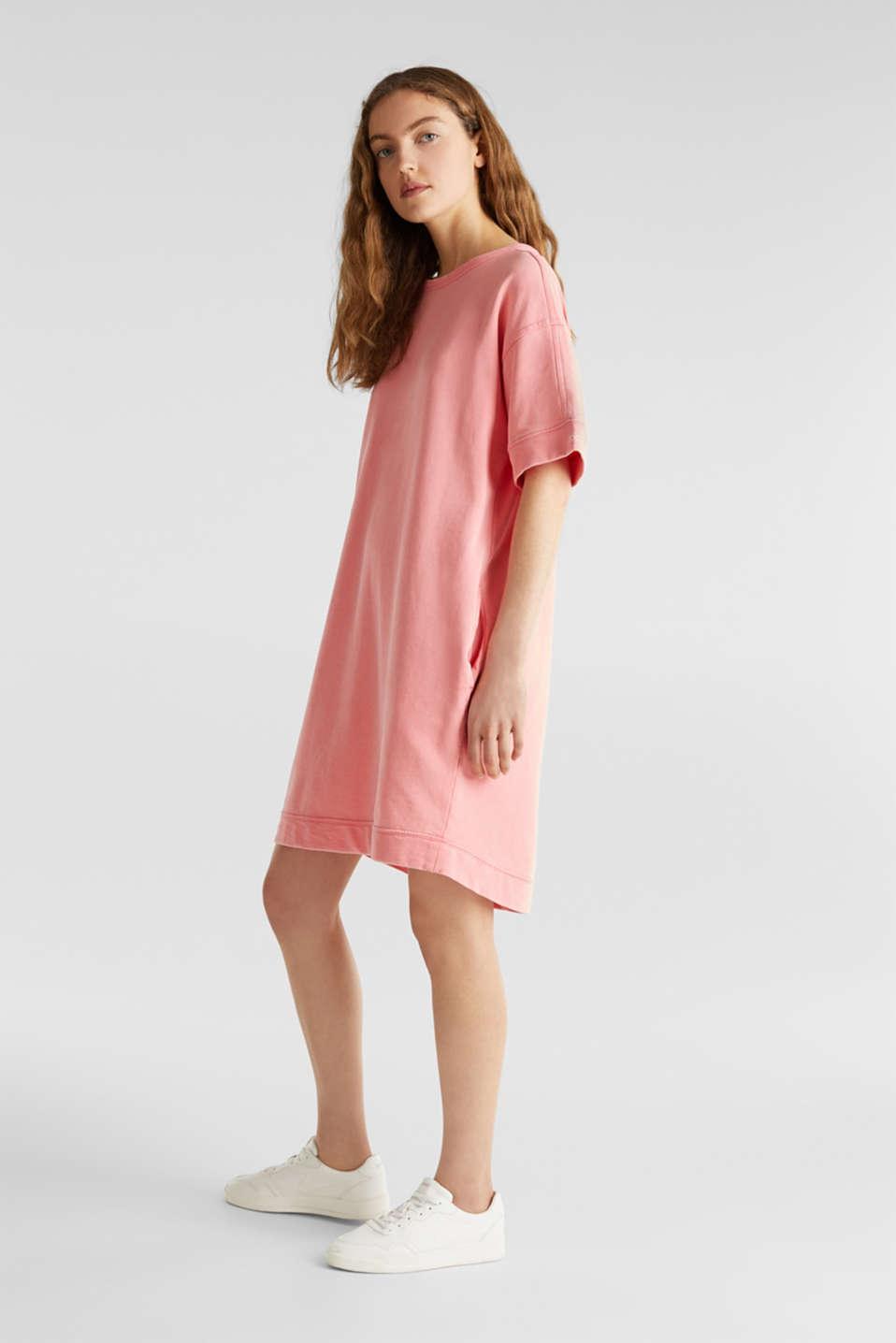 100% cotton sweatshirt dress, CORAL, detail image number 1