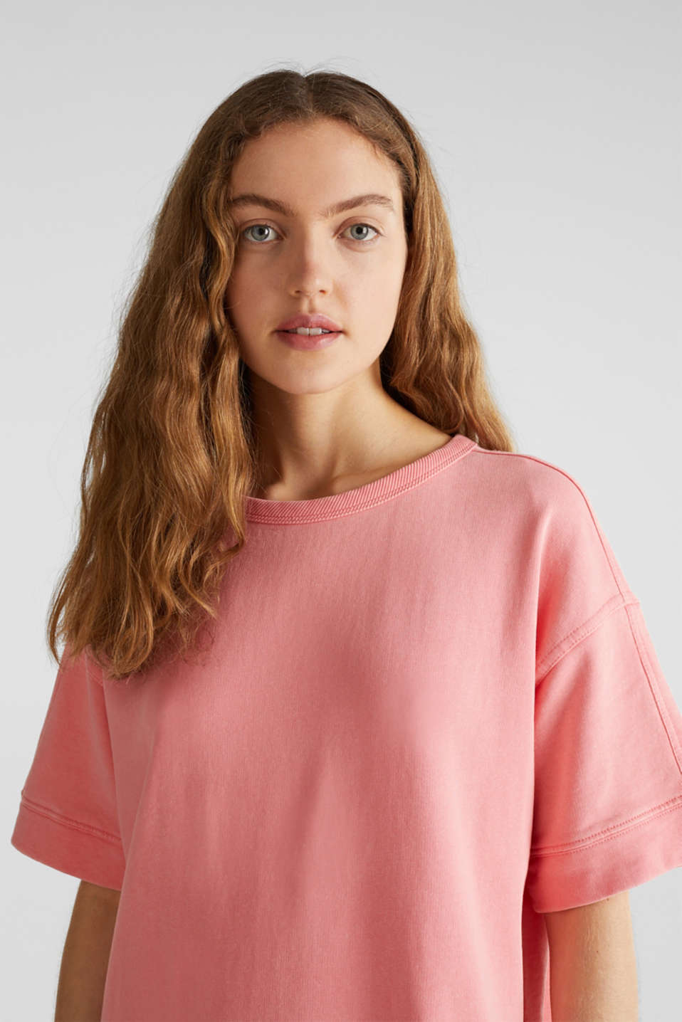 100% cotton sweatshirt dress, CORAL, detail image number 5