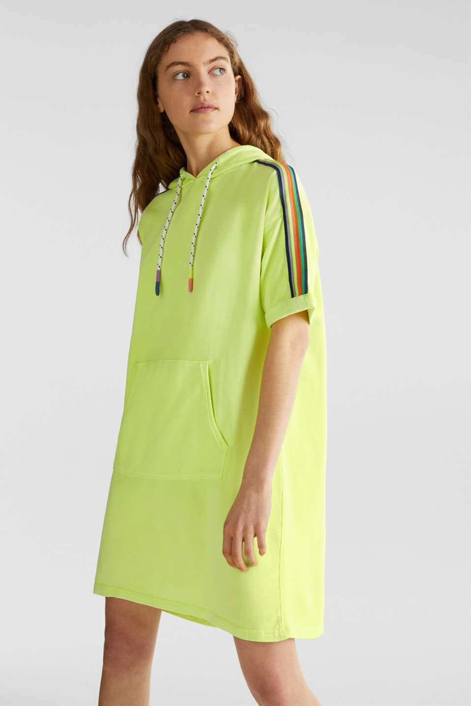 edc - NEON sweatshirt dress with stripes, 100% cotton