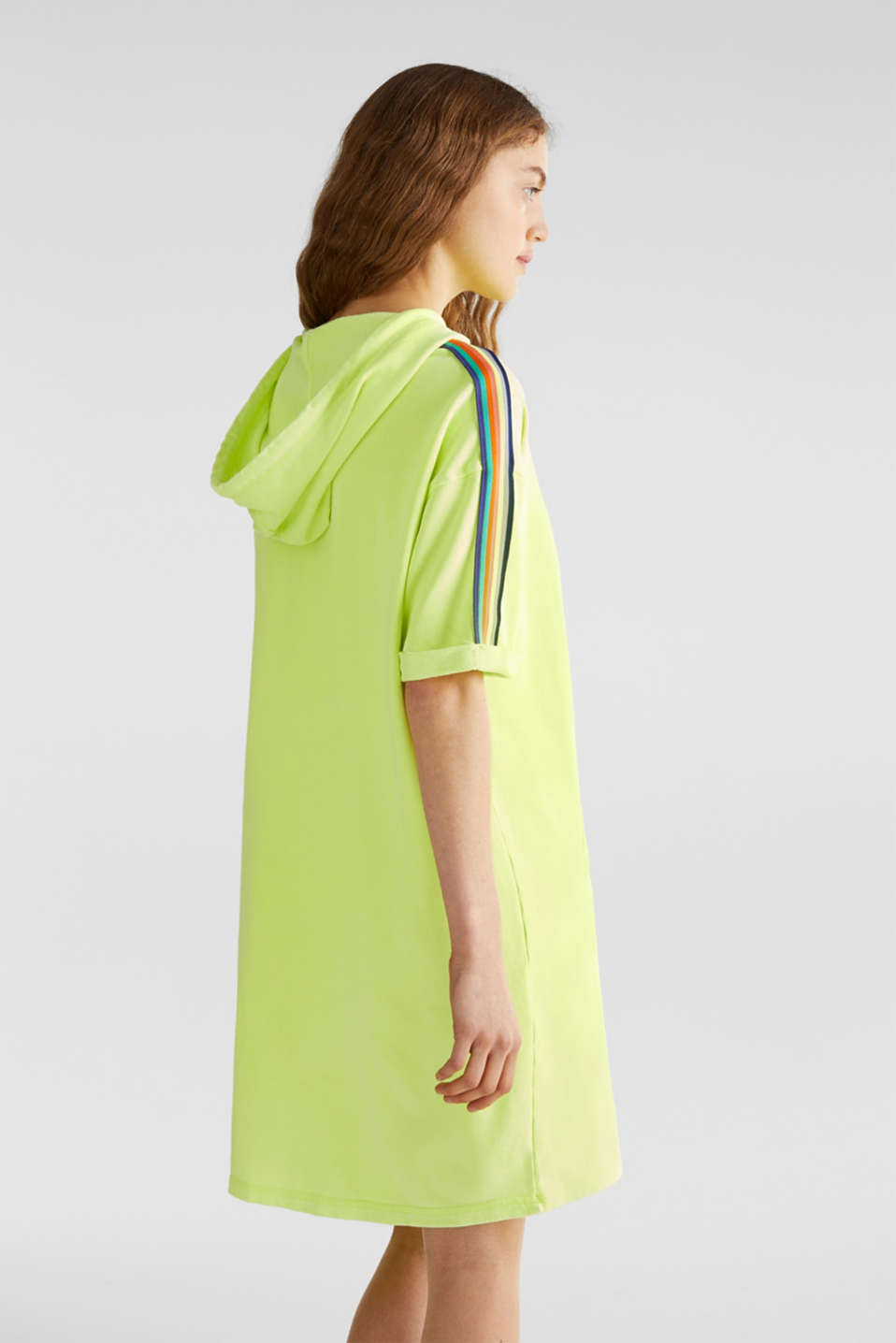 NEON sweatshirt dress with stripes, 100% cotton, LIME YELLOW, detail image number 2