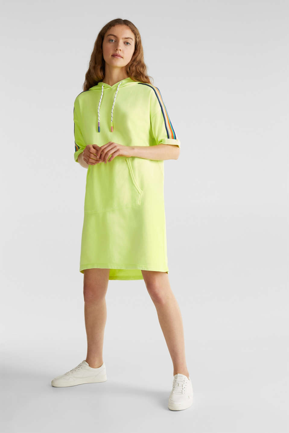 NEON sweatshirt dress with stripes, 100% cotton, LIME YELLOW, detail image number 1