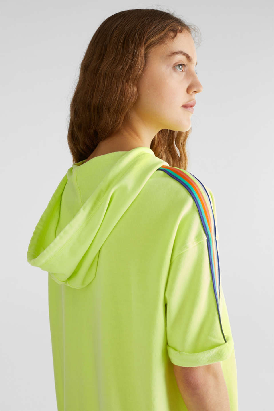 NEON sweatshirt dress with stripes, 100% cotton, LIME YELLOW, detail image number 5