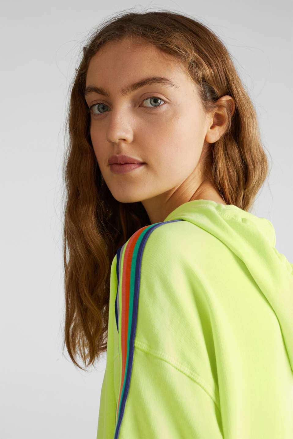 NEON sweatshirt dress with stripes, 100% cotton, LIME YELLOW, detail image number 6