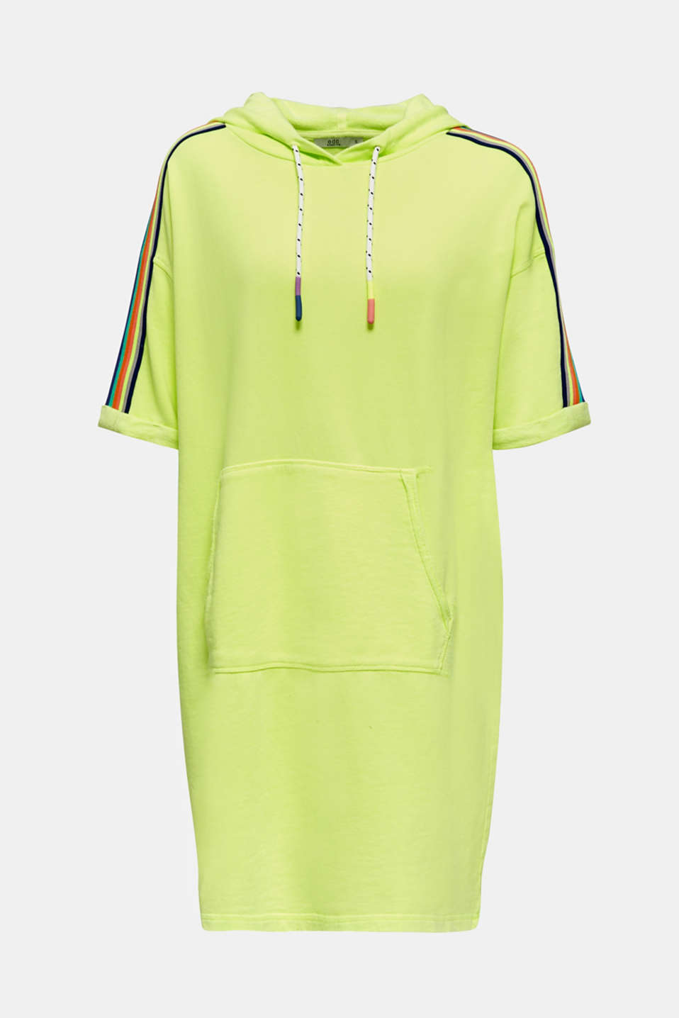 NEON sweatshirt dress with stripes, 100% cotton, LIME YELLOW, detail image number 7