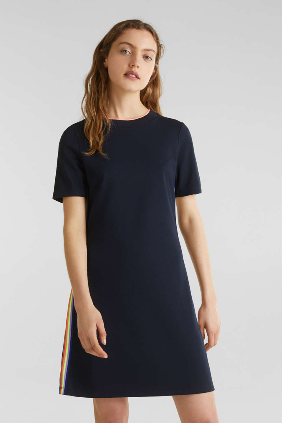 Stretch jersey dress with striped details, NAVY, detail image number 0
