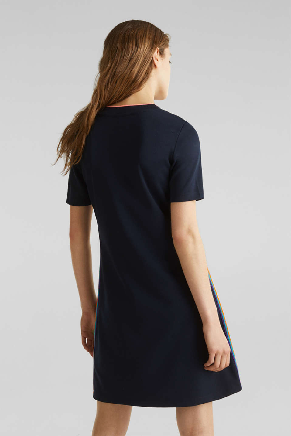 Stretch jersey dress with striped details, NAVY, detail image number 2