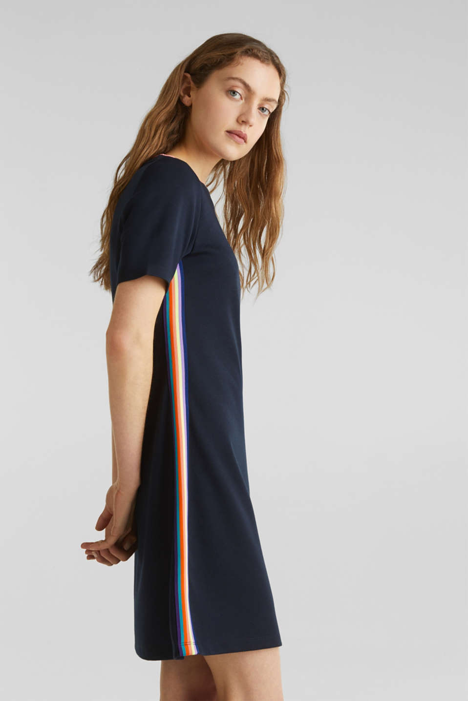 Stretch jersey dress with striped details, NAVY, detail image number 5