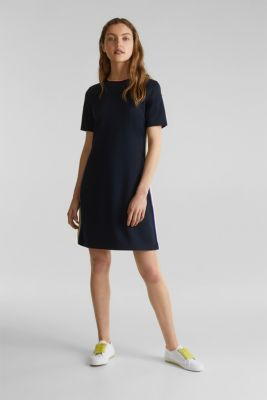 Stretch jersey dress with striped details, NAVY, detail