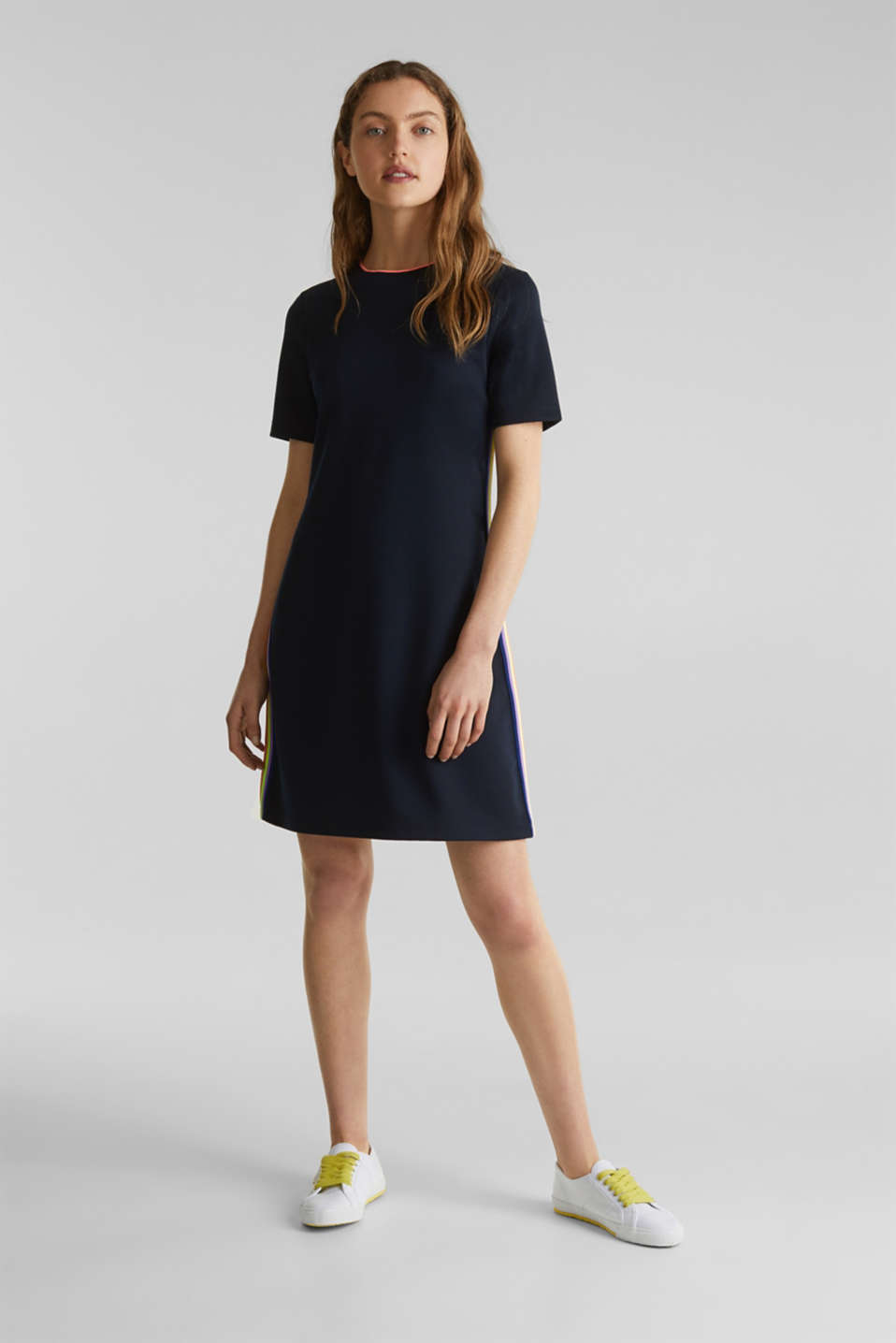 Stretch jersey dress with striped details, NAVY, detail image number 1