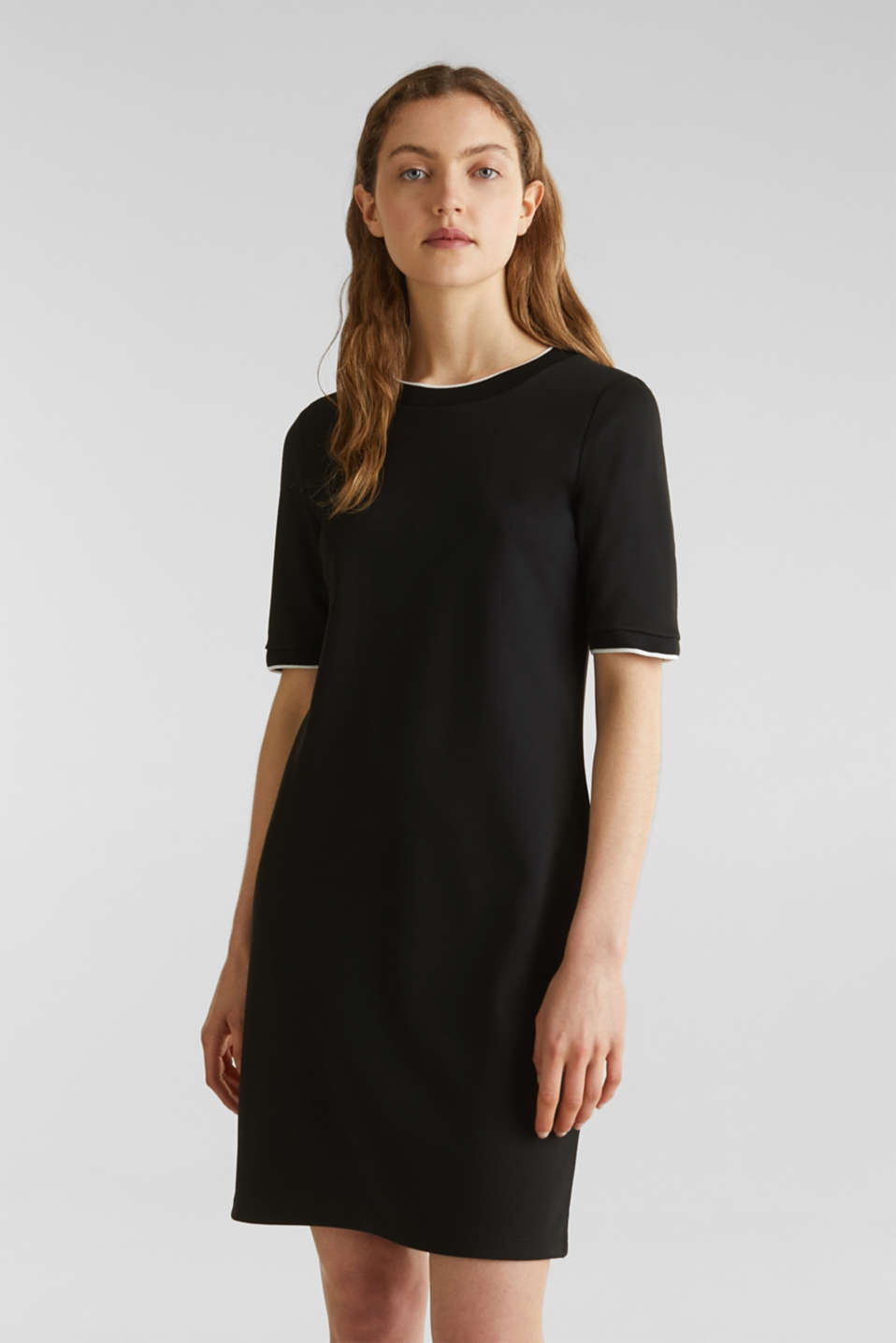 Jersey dress with contrasting stripes, BLACK, detail image number 0