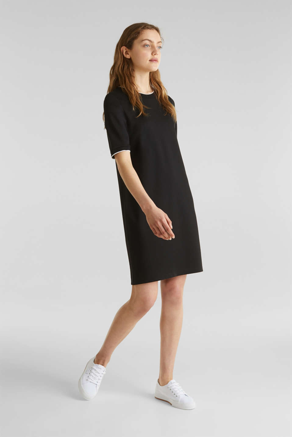 Jersey dress with contrasting stripes, BLACK, detail image number 1