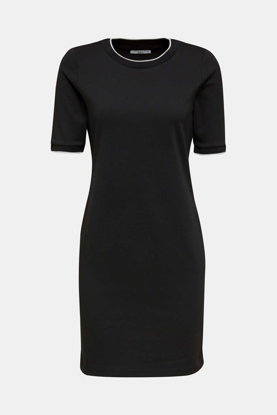 Jersey dress with contrasting stripes, BLACK, detail image number 6