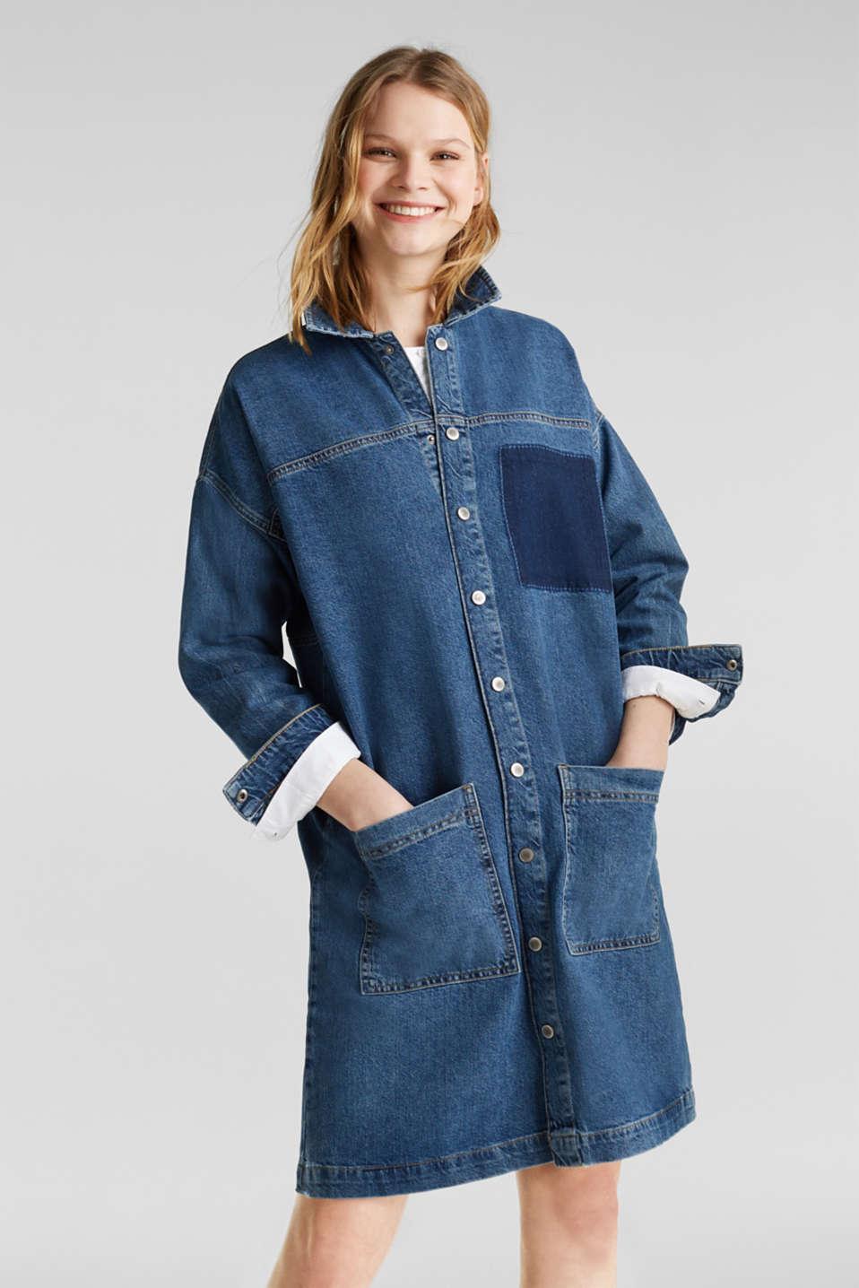 Wide denim dress, 100% cotton, BLUE DARK WASH, detail image number 0