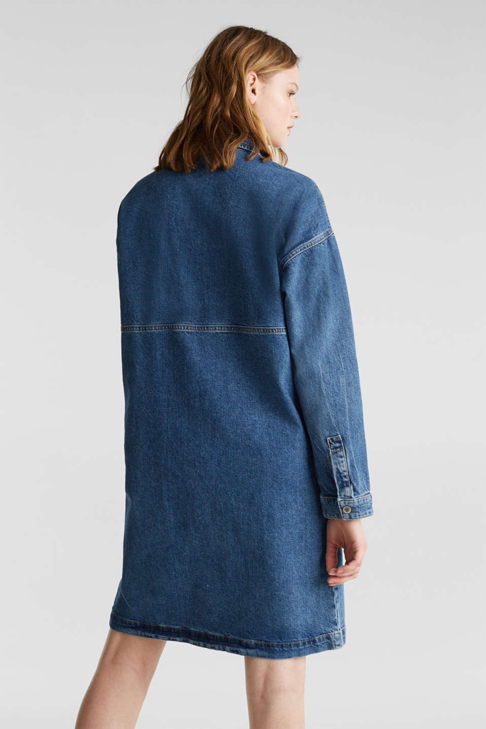 Wide denim dress, 100% cotton, BLUE DARK WASH, detail image number 2