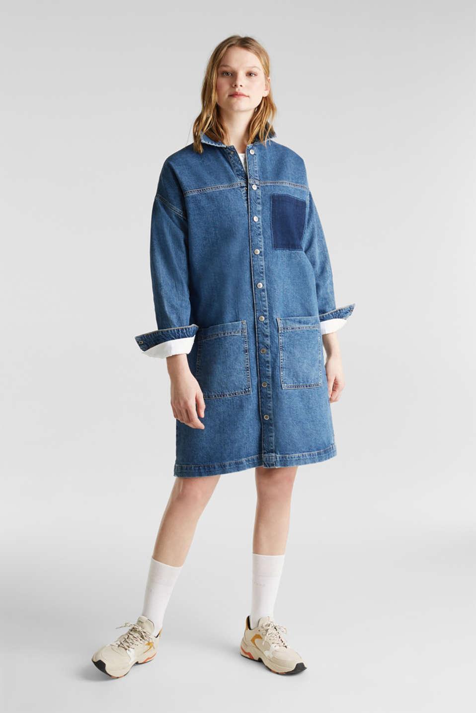 Wide denim dress, 100% cotton, BLUE DARK WASH, detail image number 5