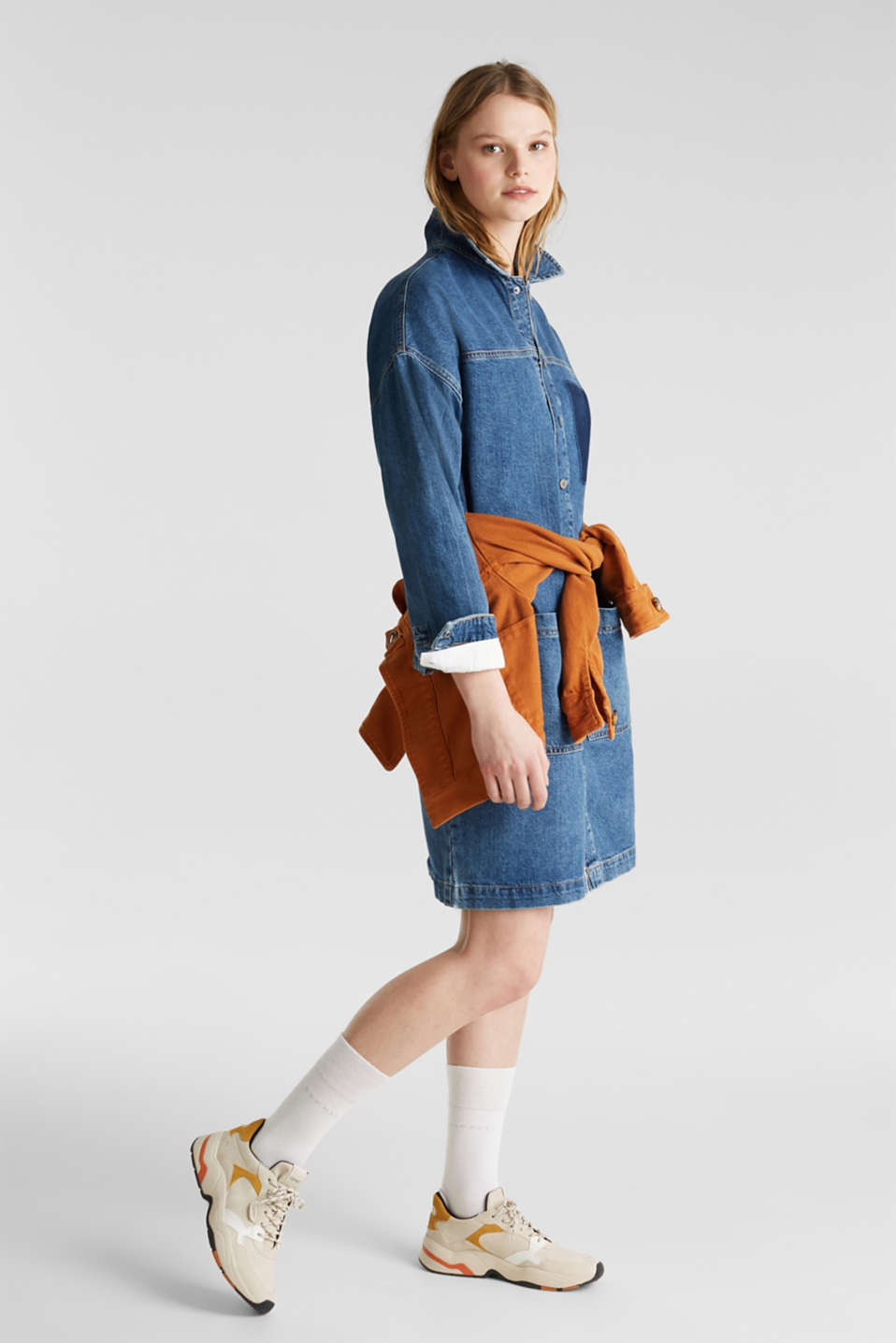 Wide denim dress, 100% cotton, BLUE DARK WASH, detail image number 1