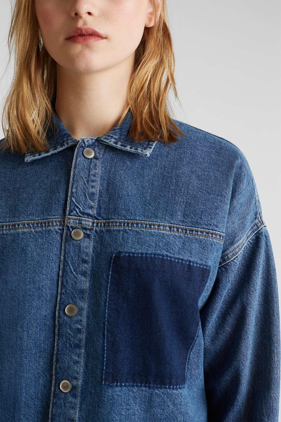 Wide denim dress, 100% cotton, BLUE DARK WASH, detail image number 3