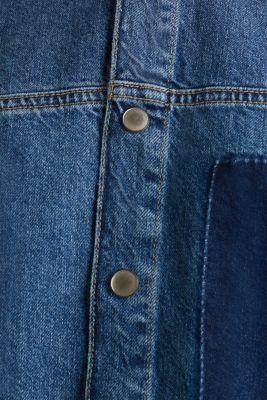Wide denim dress, 100% cotton, BLUE DARK WASH, detail