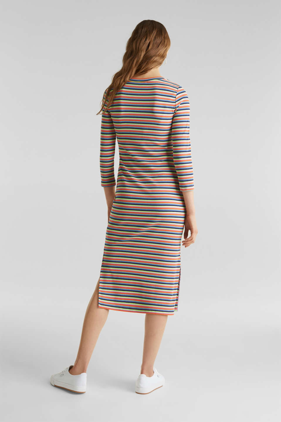 Stretch dress with multi-colour stripes, LILAC, detail image number 2