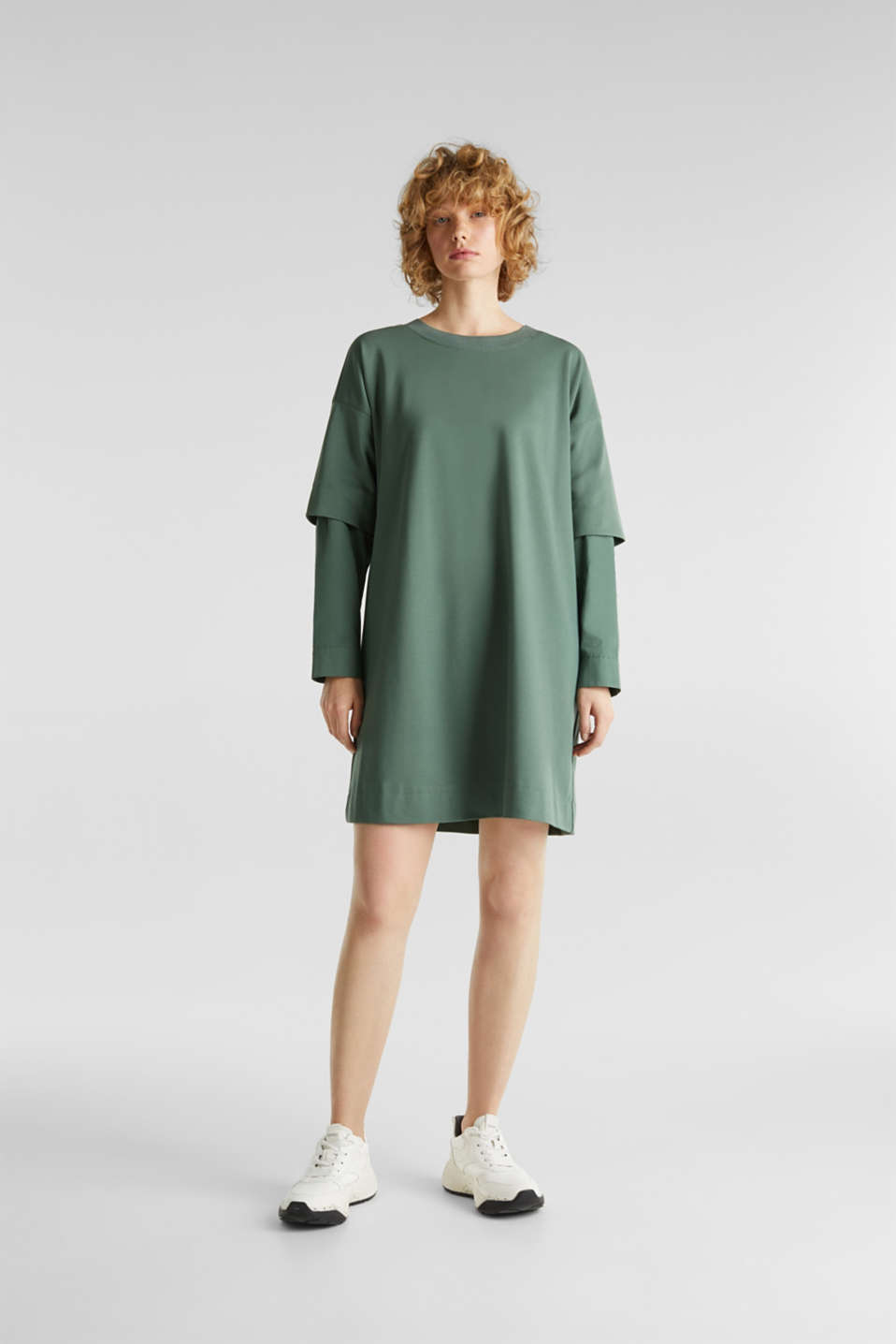 Stretch jersey dress with cloth sleeves, KHAKI GREEN, detail image number 0