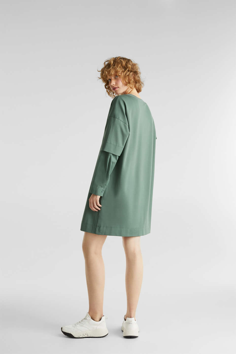 Stretch jersey dress with cloth sleeves, KHAKI GREEN, detail image number 3