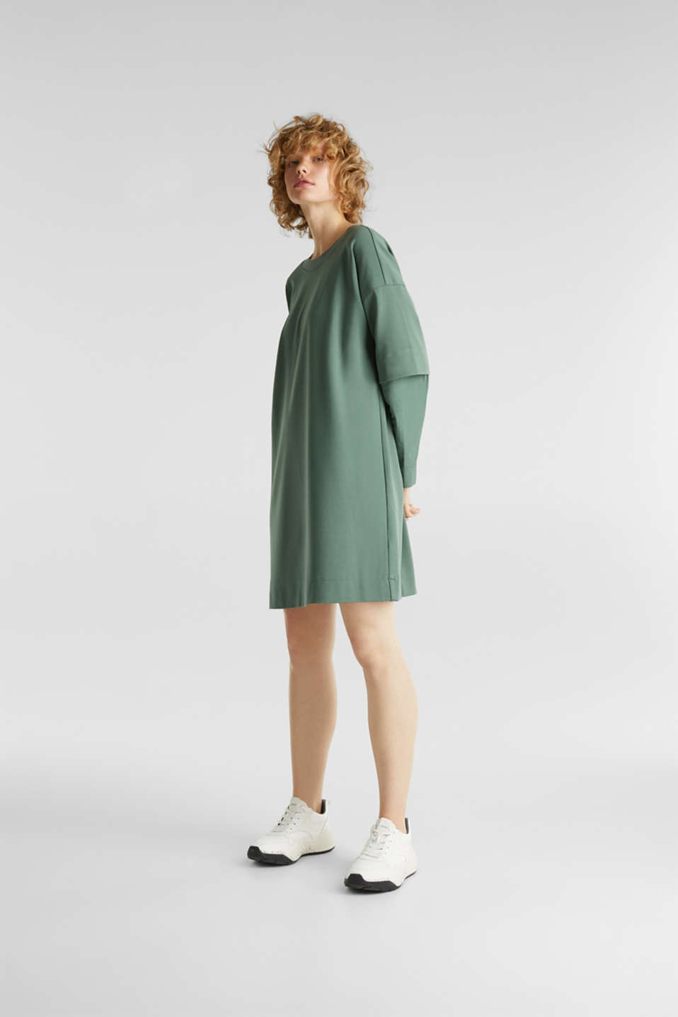 Stretch jersey dress with cloth sleeves, KHAKI GREEN, detail image number 1