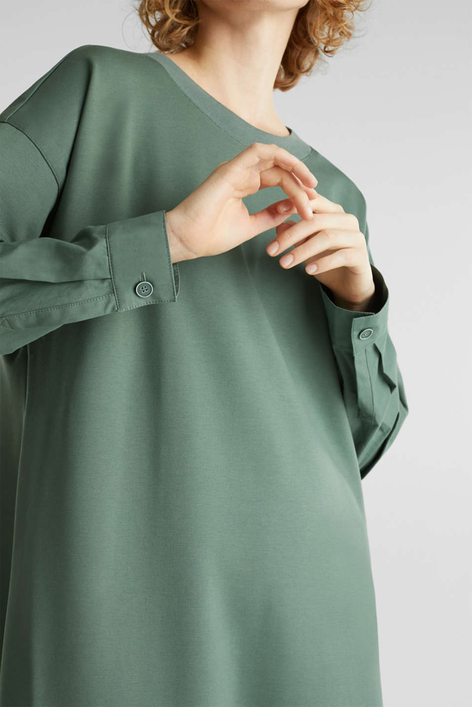 Stretch jersey dress with cloth sleeves, KHAKI GREEN, detail image number 2