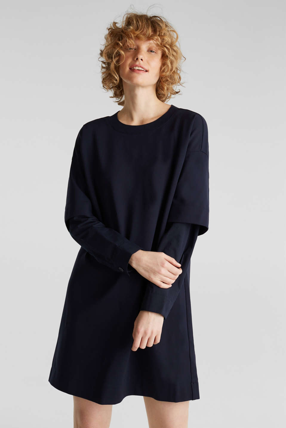Stretch jersey dress with cloth sleeves, NAVY, detail image number 0