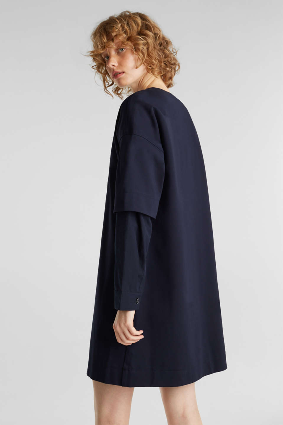 Stretch jersey dress with cloth sleeves, NAVY, detail image number 3
