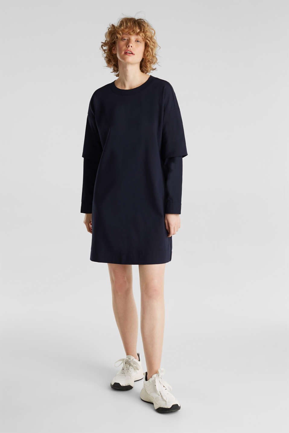 Stretch jersey dress with cloth sleeves, NAVY, detail image number 1