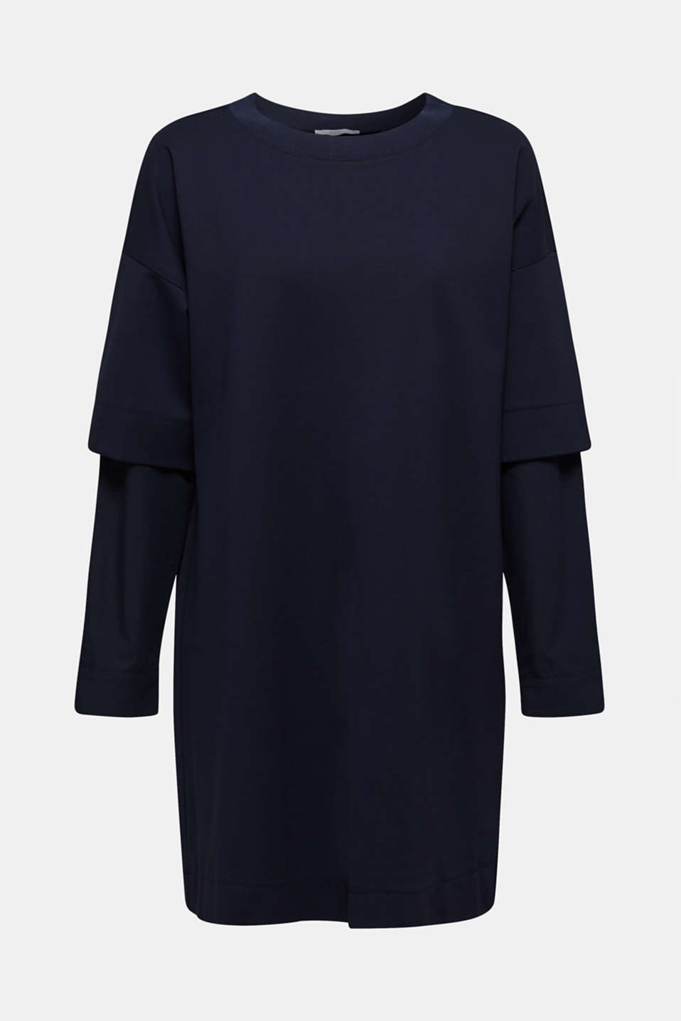 Stretch jersey dress with cloth sleeves, NAVY, detail image number 5