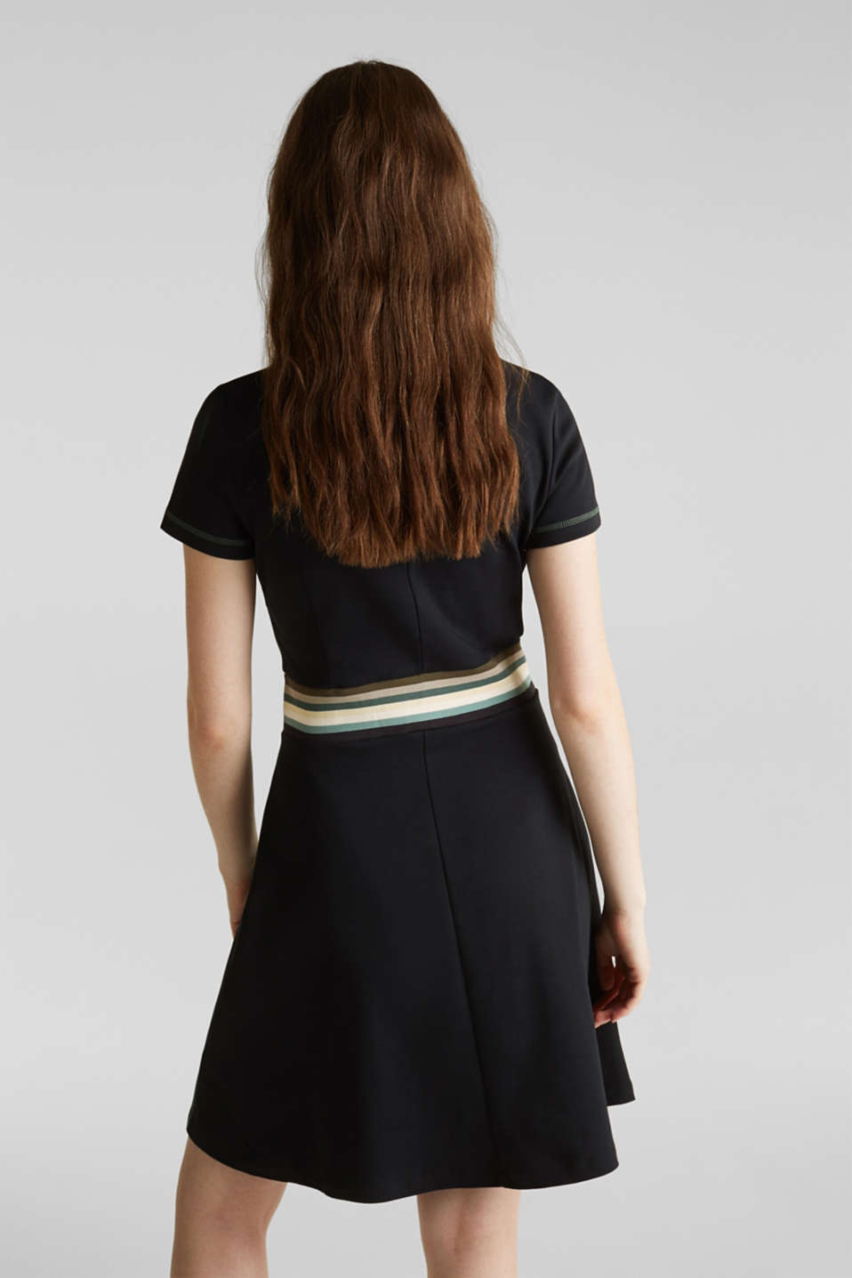 Stretch jersey dress with a multi-coloured trim, BLACK, detail image number 1