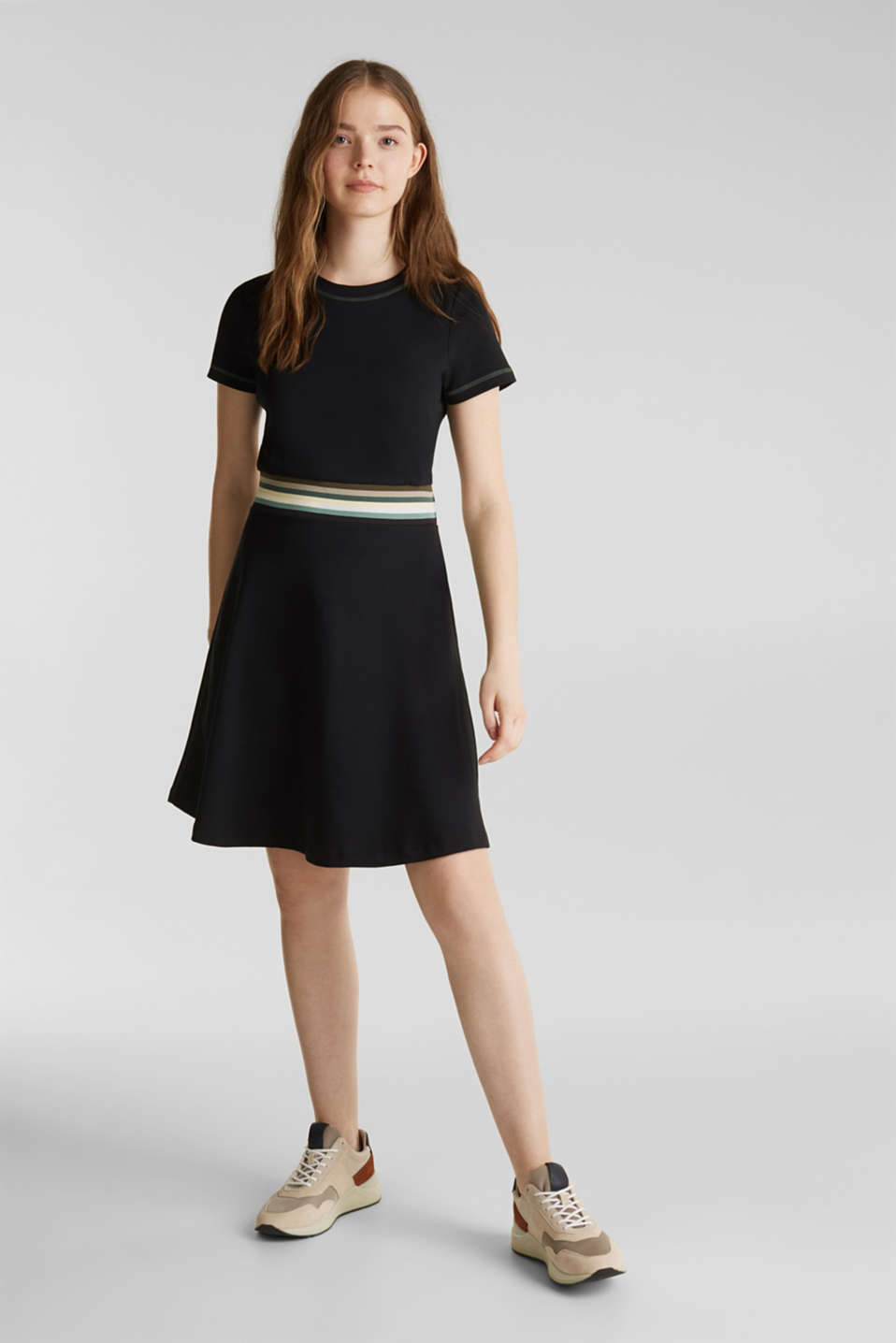 Stretch jersey dress with a multi-coloured trim, BLACK, detail image number 0