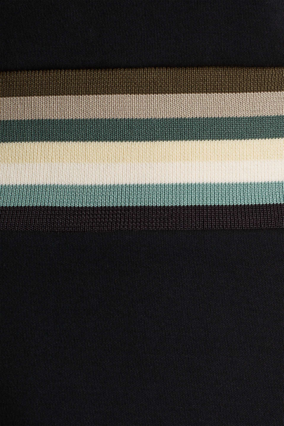 Stretch jersey dress with a multi-coloured trim, BLACK, detail image number 2