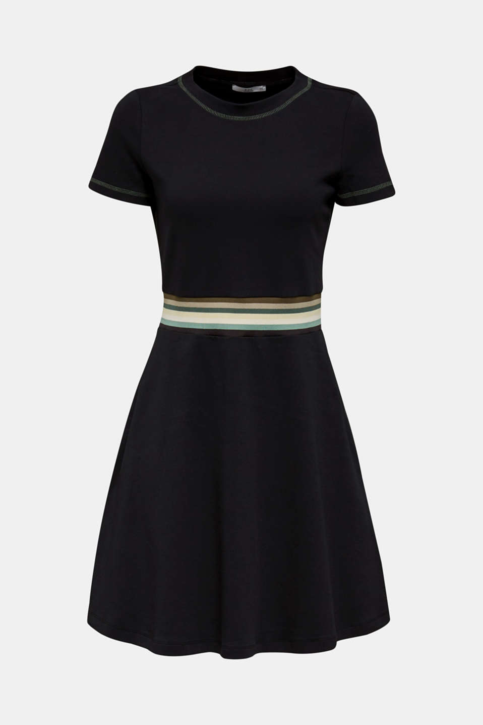 Stretch jersey dress with a multi-coloured trim, BLACK, detail image number 3