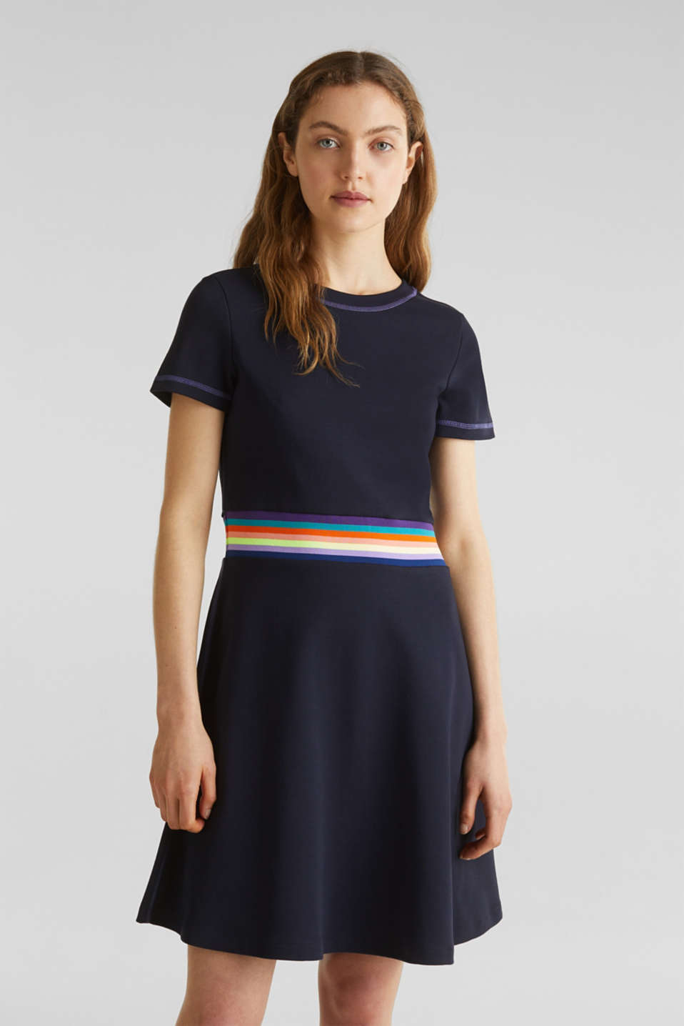 Stretch jersey dress with a decorative trim, NAVY, detail image number 0