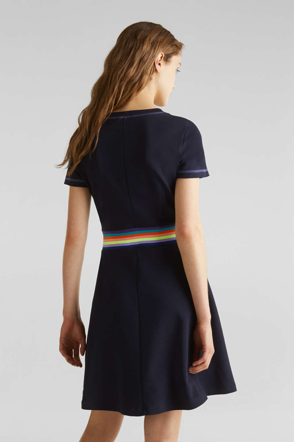 Stretch jersey dress with a decorative trim, NAVY, detail image number 2