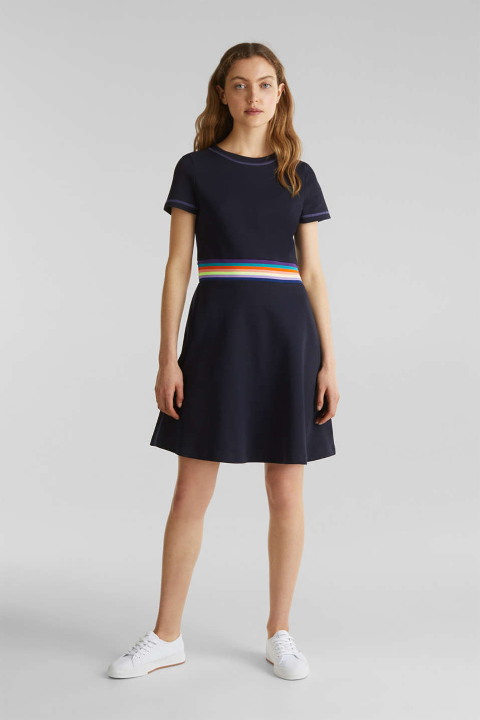 Stretch jersey dress with a decorative trim, NAVY, detail image number 1