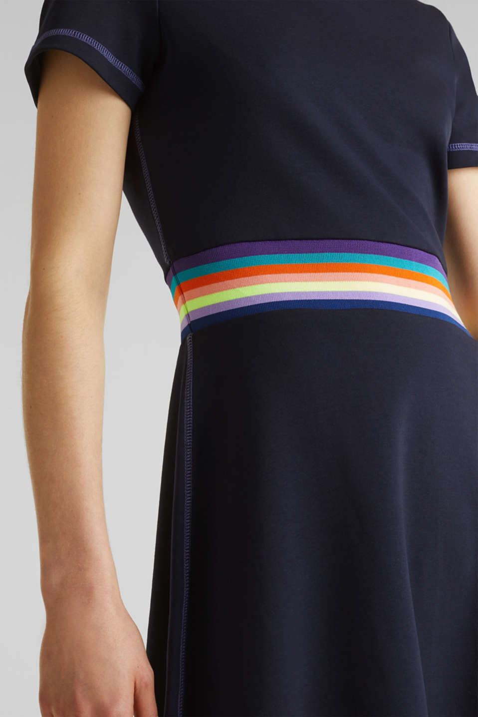 Stretch jersey dress with a decorative trim, NAVY, detail image number 3