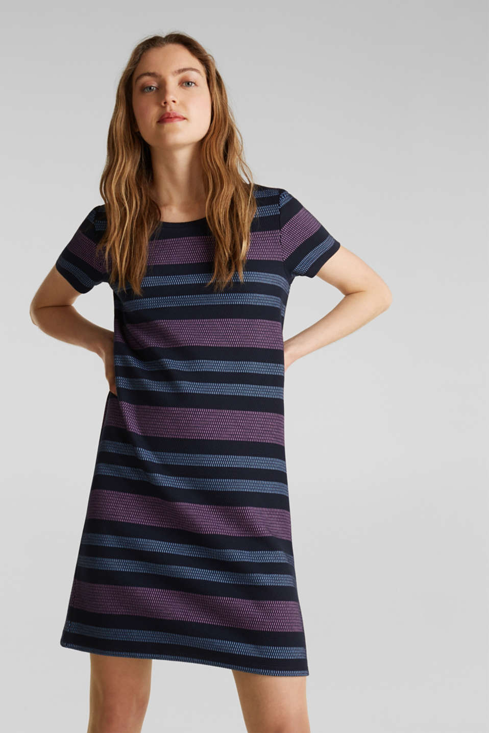 Stretch jersey dress with stripes, NAVY, detail image number 0