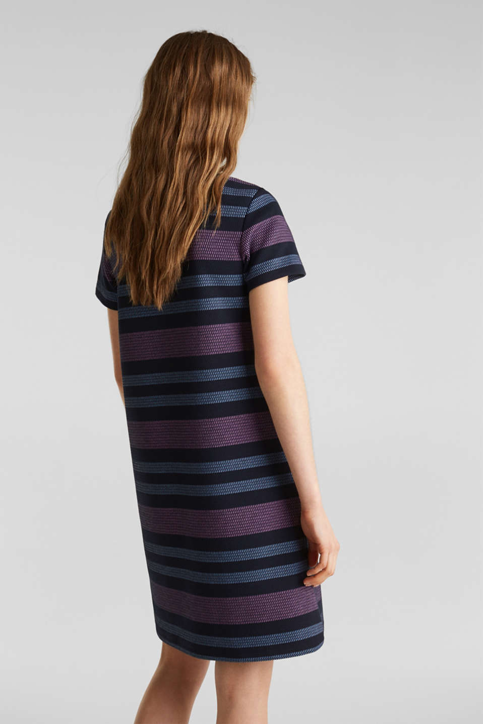 Stretch jersey dress with stripes, NAVY, detail image number 2
