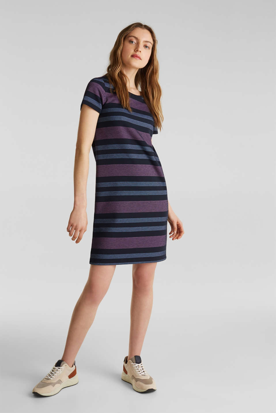 Stretch jersey dress with stripes, NAVY, detail image number 1