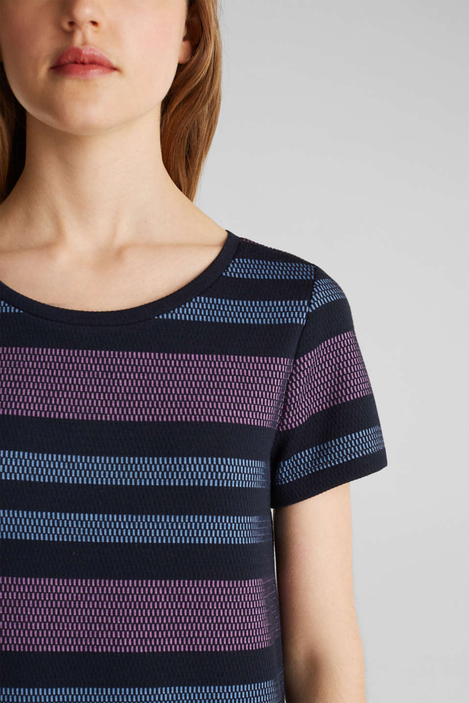 Stretch jersey dress with stripes, NAVY, detail image number 3