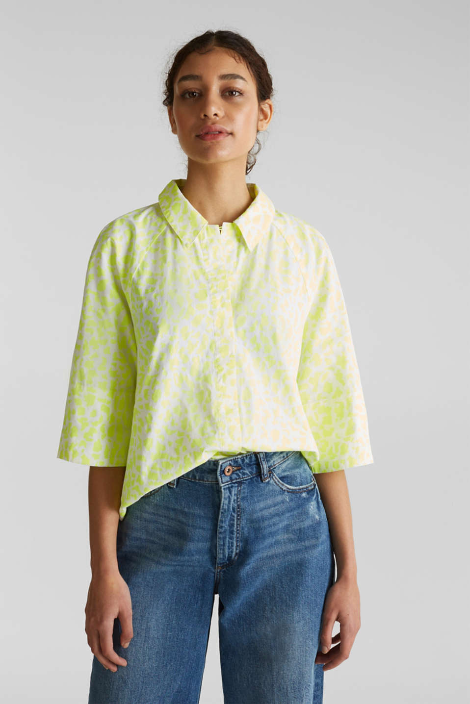 NEON modern blouse with organic cotton, WHITE 4, detail image number 0