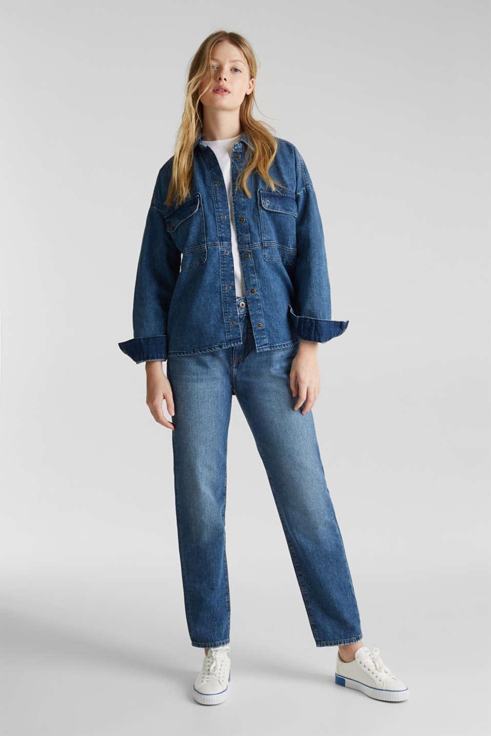 Denim shirt jacket, 100% cotton, BLUE MEDIUM WASH, detail image number 1