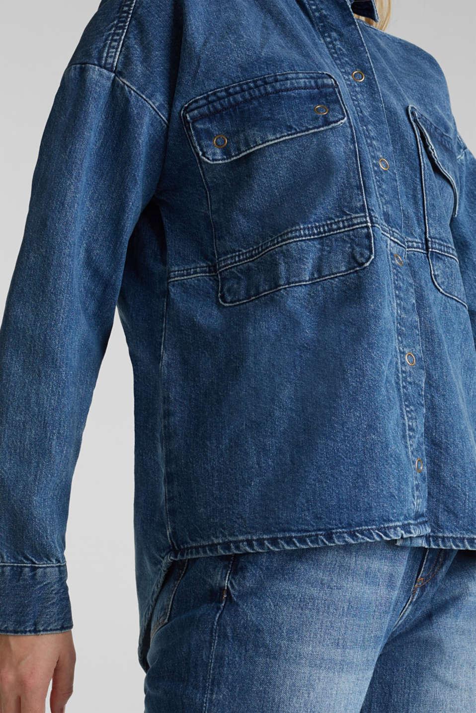 Denim shirt jacket, 100% cotton, BLUE MEDIUM WASH, detail image number 2
